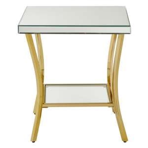 Furud Townhouse Silver Mirrored Glass Side Table In Gold