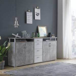 Kensington Wooden Sideboard In Concrete And White