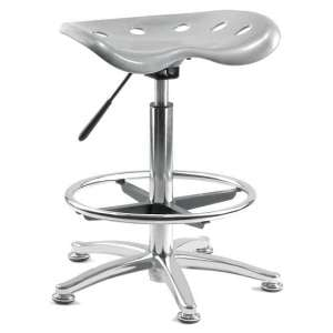 Kentucky Contemporary Stool In Silver With Castors