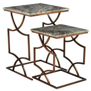 Kerfoot Dark Grey Marble Nest Of Tables With Bronze Metal Base