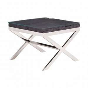 Kero Glass Top End Table In Black With Cross Base