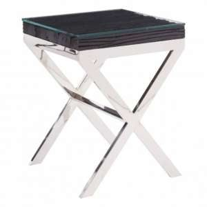 Kero Glass Top Side Table In Black With Cross Base