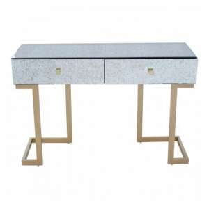 Keseni Mirrored Glass Console Table In Silver With Gold Legs