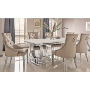Kesley Large Cream Marble Dining Table 6 Enmore Champagne Chairs