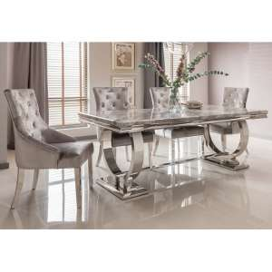 Kesley Grey Marble Top Dining Table With 4 Acton Silver Chairs