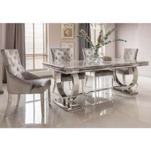 Kesley Large Grey Marble Dining Table 6 Enmore Pewter Chairs
