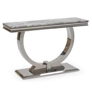 Kesley Marble Console Table In Grey With Stainless Steel Base