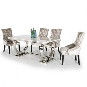 Kesley Dining Table In Cream Marble Top And 6 Acton Mink Chairs