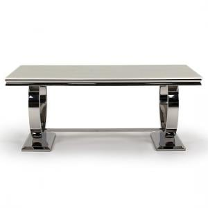 Kesley Dining Table In Cream Marble Top And Stainless Steel Base