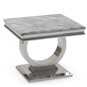 Kesley End Table In Grey Marble Top With Stainless Steel Base