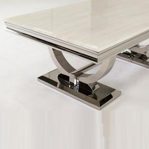 Kesley Marble Coffee Table In White With Stainless Steel Base 2
