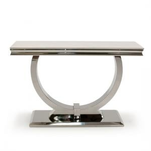 Kesley Marble Console Table In Cream With Stainless Steel Base