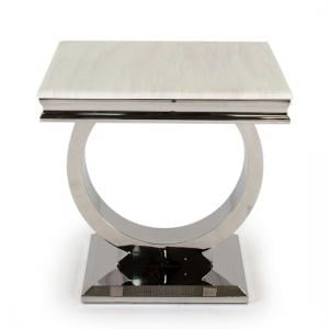 Kesley Marble End Table In Cream With Stainless Steel Base