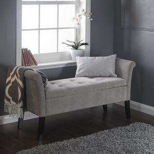 Keswick Ottoman Seat In Silver Chenille Fabric With Dark Legs