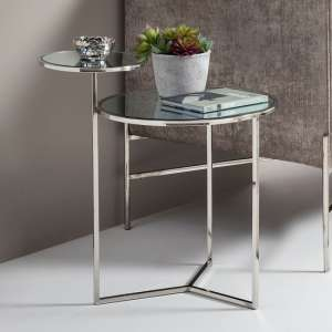 Kiana Mirrored Top Lamp Table With Polished Stainless Steel