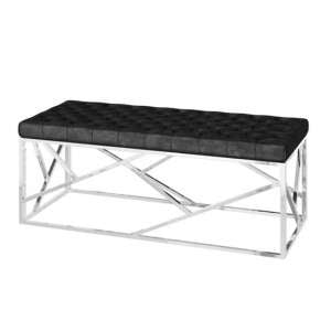 Kieta Velvet Fabric Upholstered Dining Bench In Black