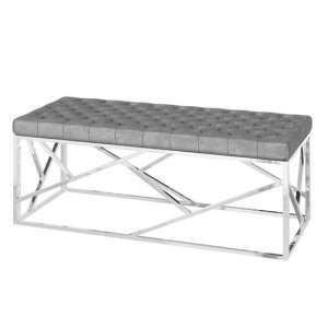 Kieta Velvet Fabric Upholstered Dining Bench In Silver Grey
