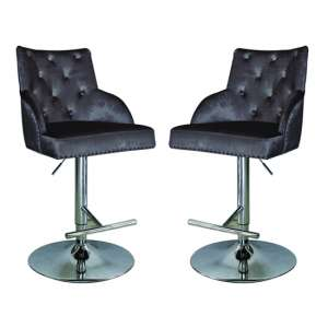 Kikki Charcoal Velvet Upholstered Gas Lift Bar Stools In Pair