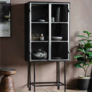Kilkenny 2 Clear Glass Doors Drinks Cabinet In Black