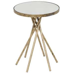 Kilmer Marble Effect Side Table With Matt Gold Finish Frame