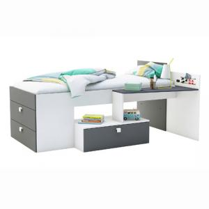 Kimberley Children Bed In Pearl White And Graphite Grey