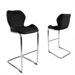 Kimberly Bar Stools In Black Faux Leather In A Pair