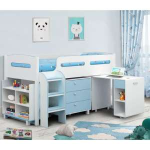 Kimbo Cabin Bunk Bed In White And Blue