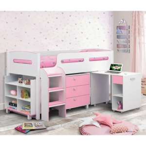 Kimbo Cabin Bunk Bed In White And Pink