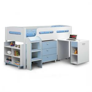Kimbo Bunkbed Cabin Bed In Blue With Storage