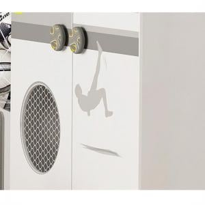 Soccer Childrens Wardrobe In Pearl White And Grey With 2 Doors_3
