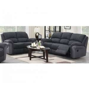 Kingston Fabric 3 And 2 Seater Sofa Suite In Charcoal
