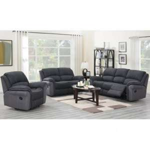 Kingston Fabric 3 Seater Sofa And 2 Armchairs Suite In Charcoal