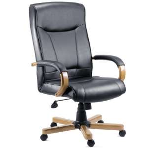 Kingston Light Wood Executive Chair In Black Bonded Leather
