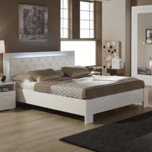 Kinsella King Size Bed In Laquered White Gloss With LED