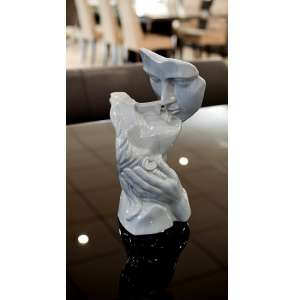 Lovers Kissing Sculpture In Grey Ceramic