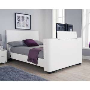 Knightsbridge Modern King Size TV Bed In White Faux Leather