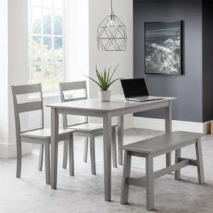 Kobe Dining Set In Lunar Grey With Bench And 2 Chairs