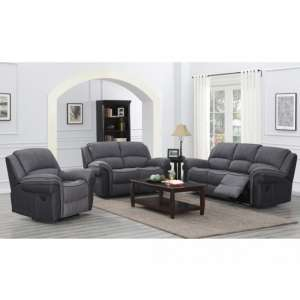 Koeia 3 Seater Sofa And 2 Armchairs Suite In Grey Fusion