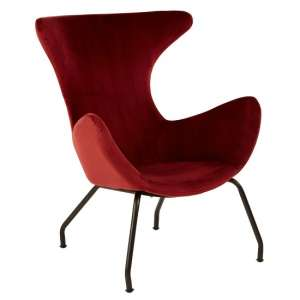 Giausar Metal Legs Chair In Red Fabric