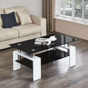 Kontrast Coffee Table In Black Glass With White High Gloss Legs