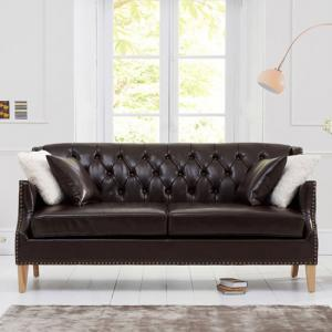 Kosmo 3 Seater Sofa In Brown Leather With Natural Ash Legs