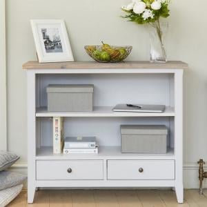 Krista Wooden Low Bookcase In Grey With 2 Drawers