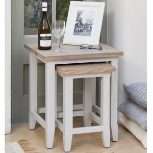 Krista Contemporary Wooden Nest Of 2 Tables In Grey