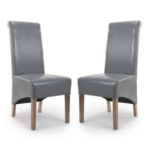 Krista Roll Back Bonded Leather Grey Dining Chairs In Pair
