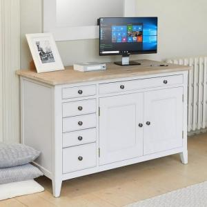 Krista Wooden Computer Desk In Grey With 2 Doors And 5 Drawers