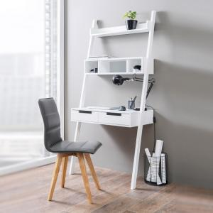 Kristina Retro Ladder Style Computer Desk In White With Storage