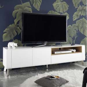 Kristy TV Stand In Matt White With Brushed Steel Legs