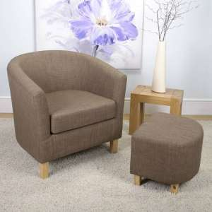 Kurnell Chenile Fabric Tub Chair In Cinnamon With Foot Stool