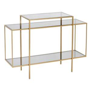 Kyle Glass Top Console Table In Gold