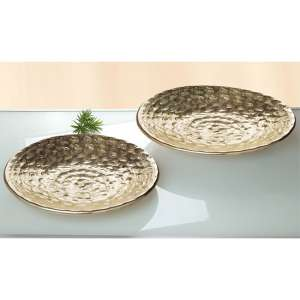 La Perla Ceramic Set Of 2 Round Decorative Bowl In Antique Gold